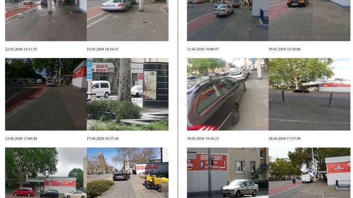 Dies sind nur exemplarisch zwei Seiten aus dem Album von Josef Kunz über Falschparker am Gottesauer Platz. Seine Beschwerde umfasst mehr als 150 Fotos.