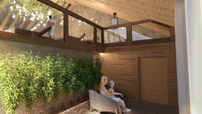 Der Saunabereich soll separat zugänglich sein.