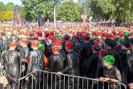 Am Hardtsee bei Ubstadt-Weiher kommen im Juni zum Ironman Kraichgau normalerweise tausende Sportler zusammen, um von dort den Triathlon zu starten. In diesem Jahr bleibt das Ufer leer.