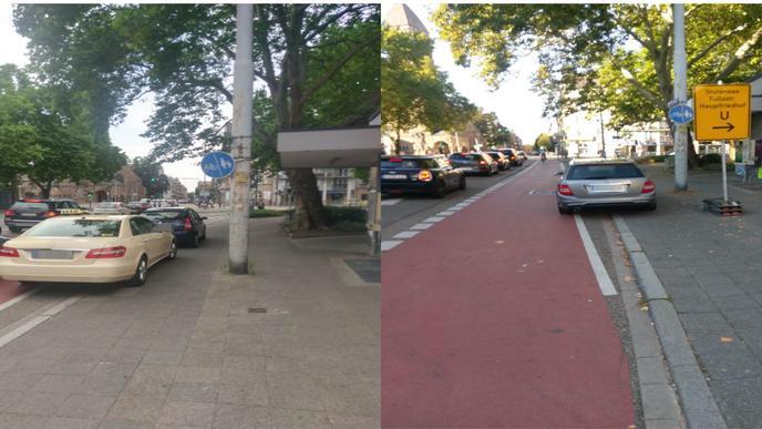 Autofahrer vollbringen am Gottesauer Platz bisweilen eine seltene Leistung: Sie parken gleichzeitig auf zwei Radwegen, einem Stück Sperrfläche und eventuell auch noch dem Gehweg.