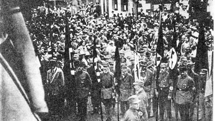 Erster großer Aufmarsch der NSDAP in Karlsruhe beim Kühlen Krug anlässlich der Landtagswahl am 25. Oktober 1925.