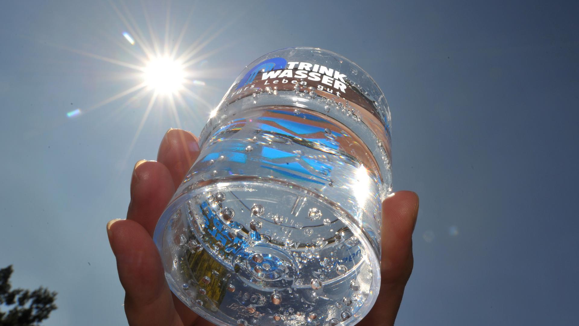 Ein mit Trinkwasser gefüllter Becher wird am Dienstag (02.08.2011) im Karlsruher Freibad Rappenwört bei sommerlichen Temperaturen gezeigt. Bei einem Pressetermin informierten die Stadtwerke Karlsruhe über die Qualität des Trinkwassers. Laut Angaben des Unternehmens gehört es zu den besten Leitungswässern in Deutschland. Es wird ausschließlich aus Grundwasser gewonnen und ist von Natur aus so gut, dass es nicht gechlort werden muss. Foto: Uli Deck dpa/lsw  +++(c) dpa - Bildfunk+++