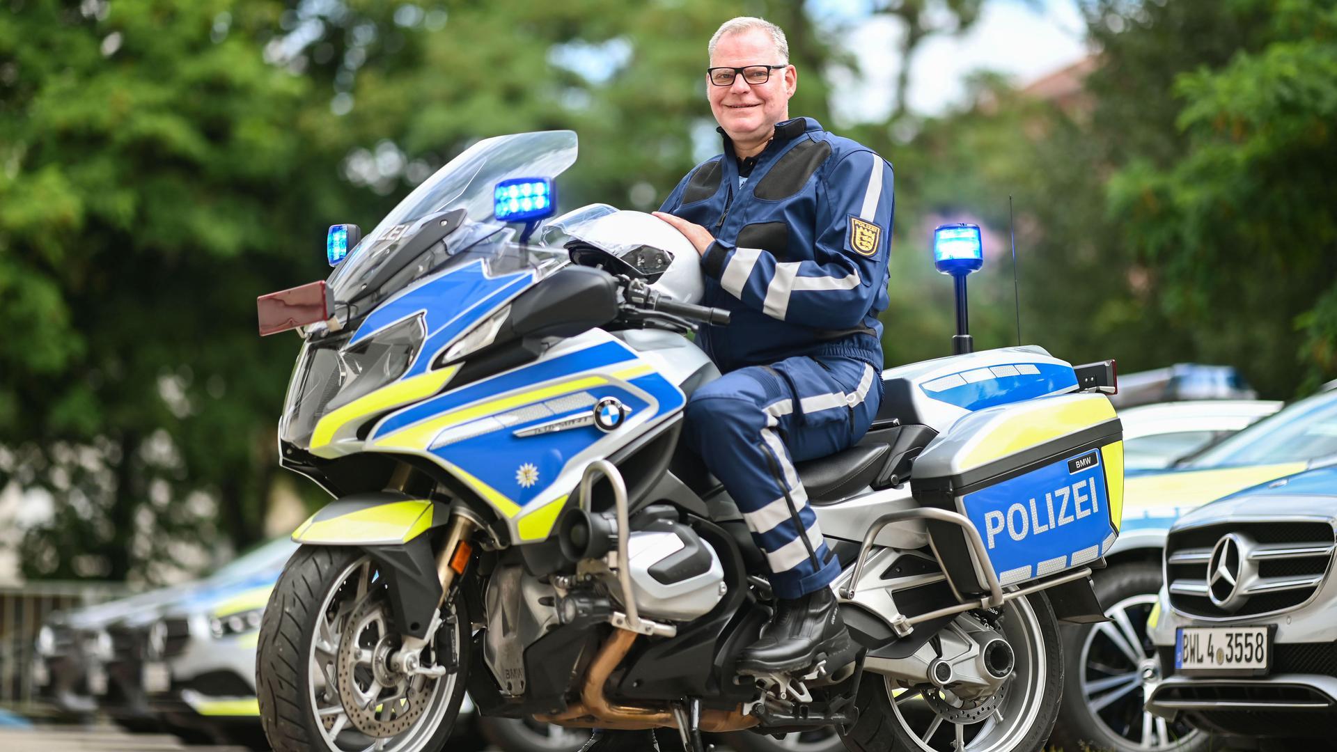 Hin und wieder ist Polizeidirektor Martin Plate, Leiter der Karlsruher Verkehrspolizei, auf dem Motorrad unterwegs.