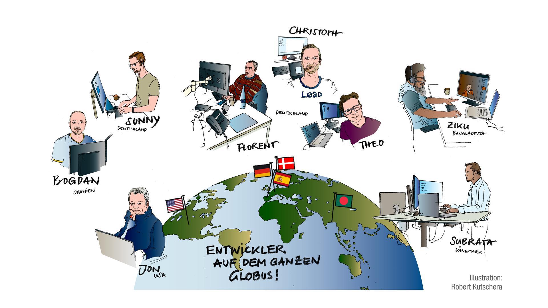 Auf der ganzen Welt zuhause: die Entwickler, die an bnn.de arbeiten.