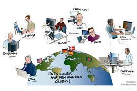 Eine Illustration zeigt BNN-Entwickler auf dem halben Globus.