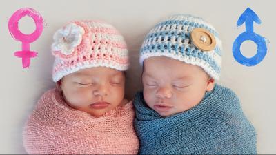 Zwei Babys liegen nebeneinander, das linke trägt rosa Kleidung, das rechte blaue.