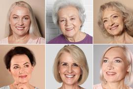 Fotocollage von reifen Frauen mit meist grauen Haaren