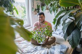 """Kevin Qiu in seinem """"Urban Jungle"""" mit seiner aktuellen Lieblingspflanze, einem Ficus deltoidea."""