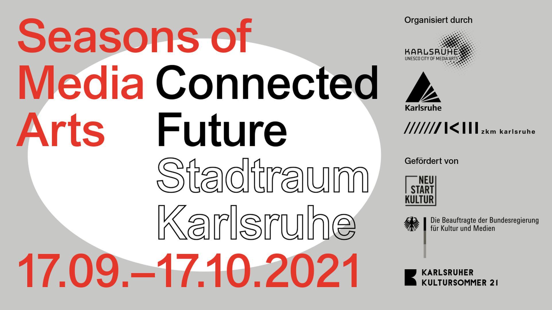 """Das Medienkunstfestival """"Seasons of Media Arts"""" wird im Programm Kultursommer 2021 durch die Beauftrage der Bundesregierung für Kultur und Medien mit Mitteln aus """"Neustart Kultur"""" gefördert."""