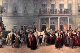 Das Hochzeitsbild (Detail): Gemalt von Heinrich Issel, 1892. Die Braut auf dem Balkon trägt Rosa, der Bräutigam rechts daneben Uniform. Unten gehen Frauen in der Tracht des Gutachtals, zu denen die Bollenhüte gehören. Das Gemälde hängt im Badischen Landesmuseum.
