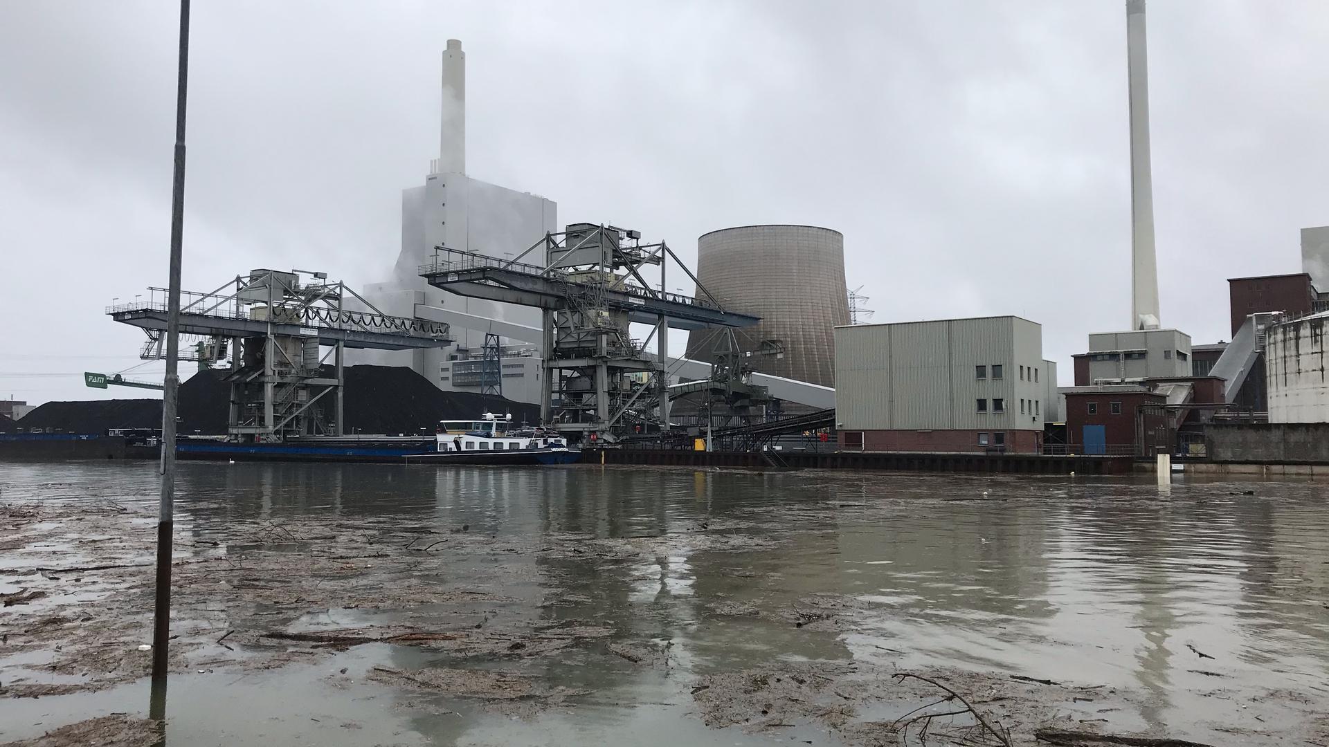 Hochwasser des Rheins beim Karlsruher Hafen.
