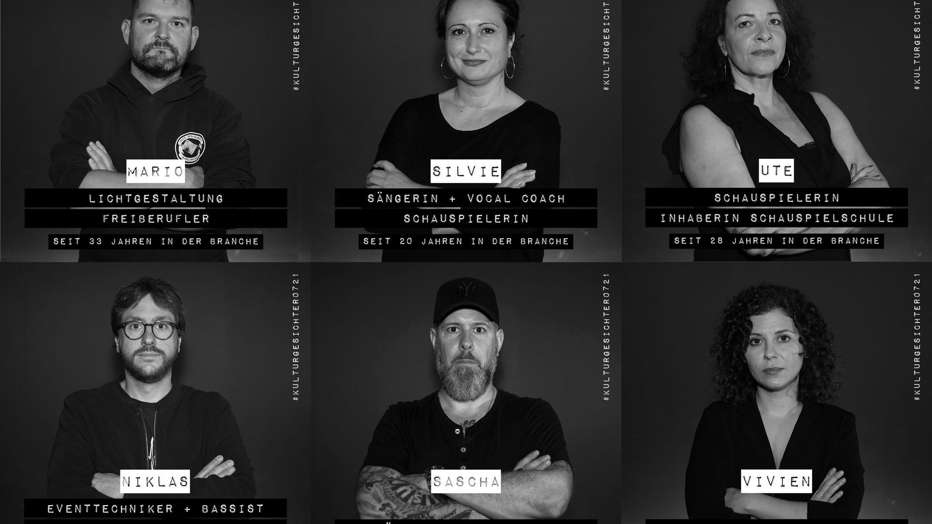 """Sechs Motive aus dem ersten Fotoshooting zur Internet-Initiative """"Kulturgesichter0721"""" im Oktober 2020"""