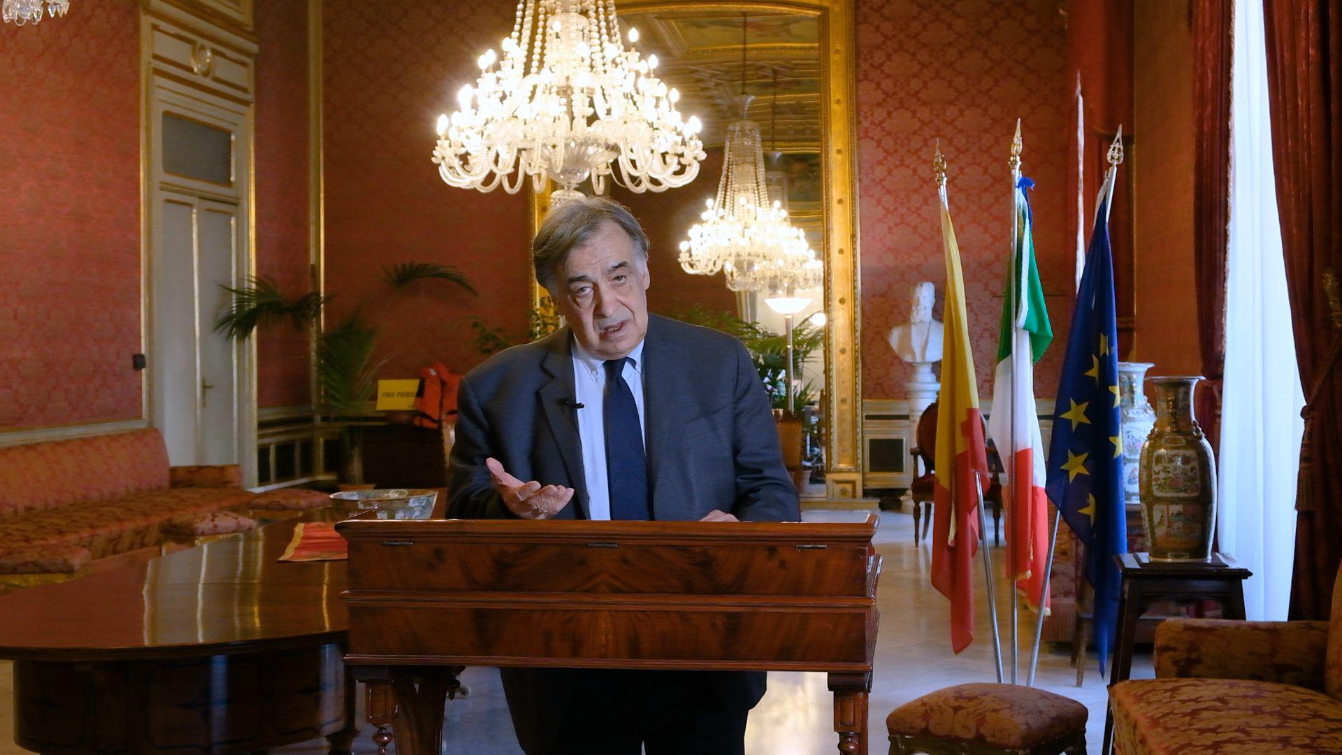 Leoluca Orlando, Bürgermeister von Palermo, bei seiner Eröffnungsrede zu den Europäischen Kulturtagen Karlsruhe 2021.