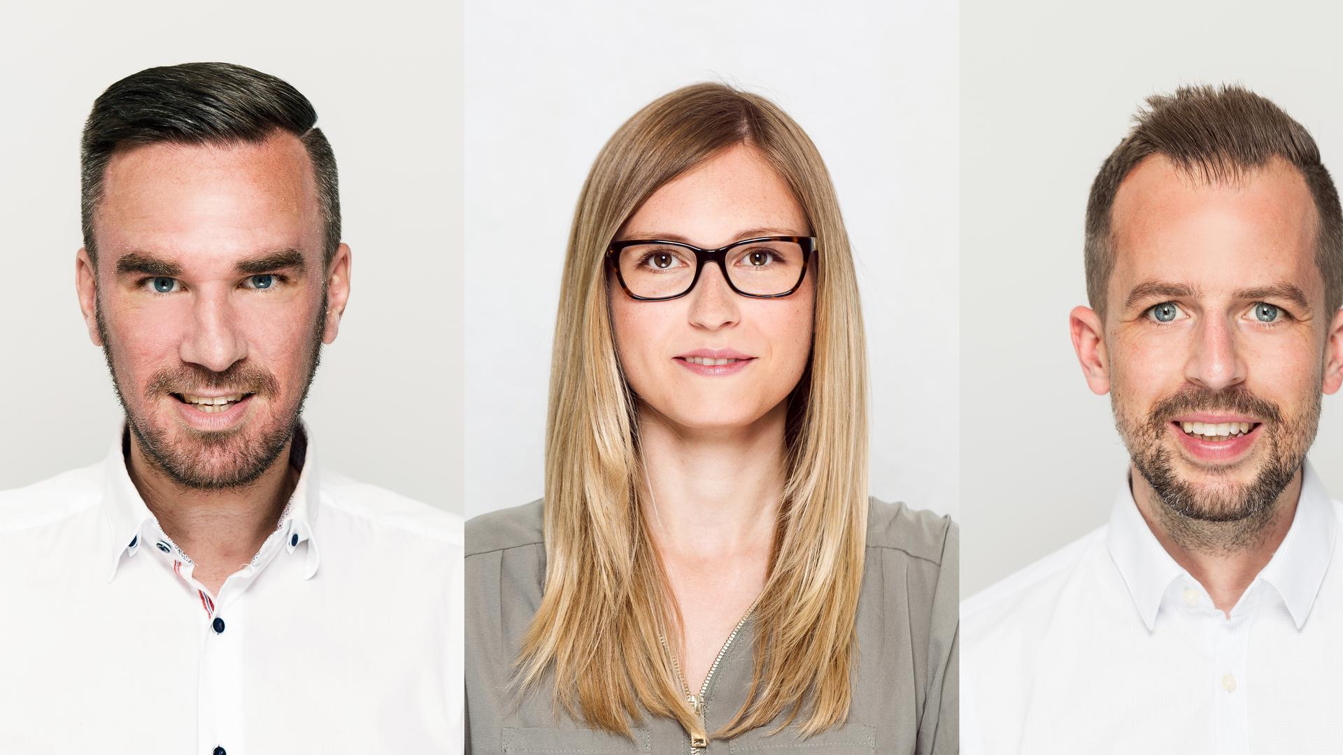 Portraits von drei Personen