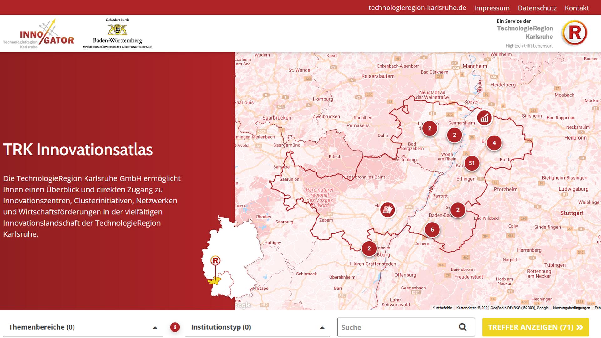 Der TRK Innovationsatlas ermöglicht einen Überblick sowie direkten Zugang zu Innovationsakteuren in den Regionen Mittlerer Oberrhein, Südpfalz und Nordelsass.