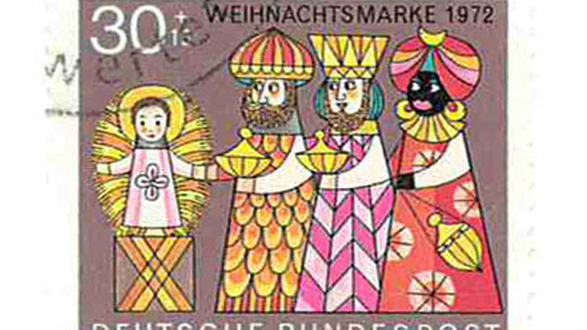 Weihnachtssonderbriefmarke von 1972 mit den drei Weisen und dem Jesuskind.