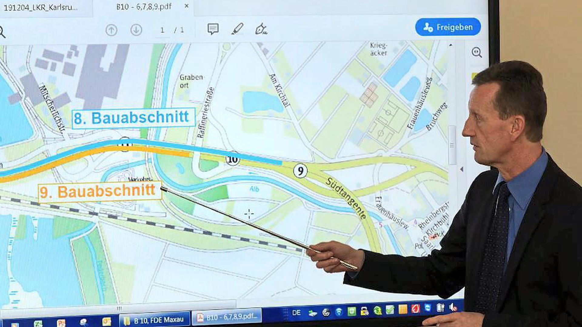 Jürgen Genthner stellte im Regierungspräsidium Karlsruhe die für die kommenden Monate geplanten Baumaßnahmen vor.