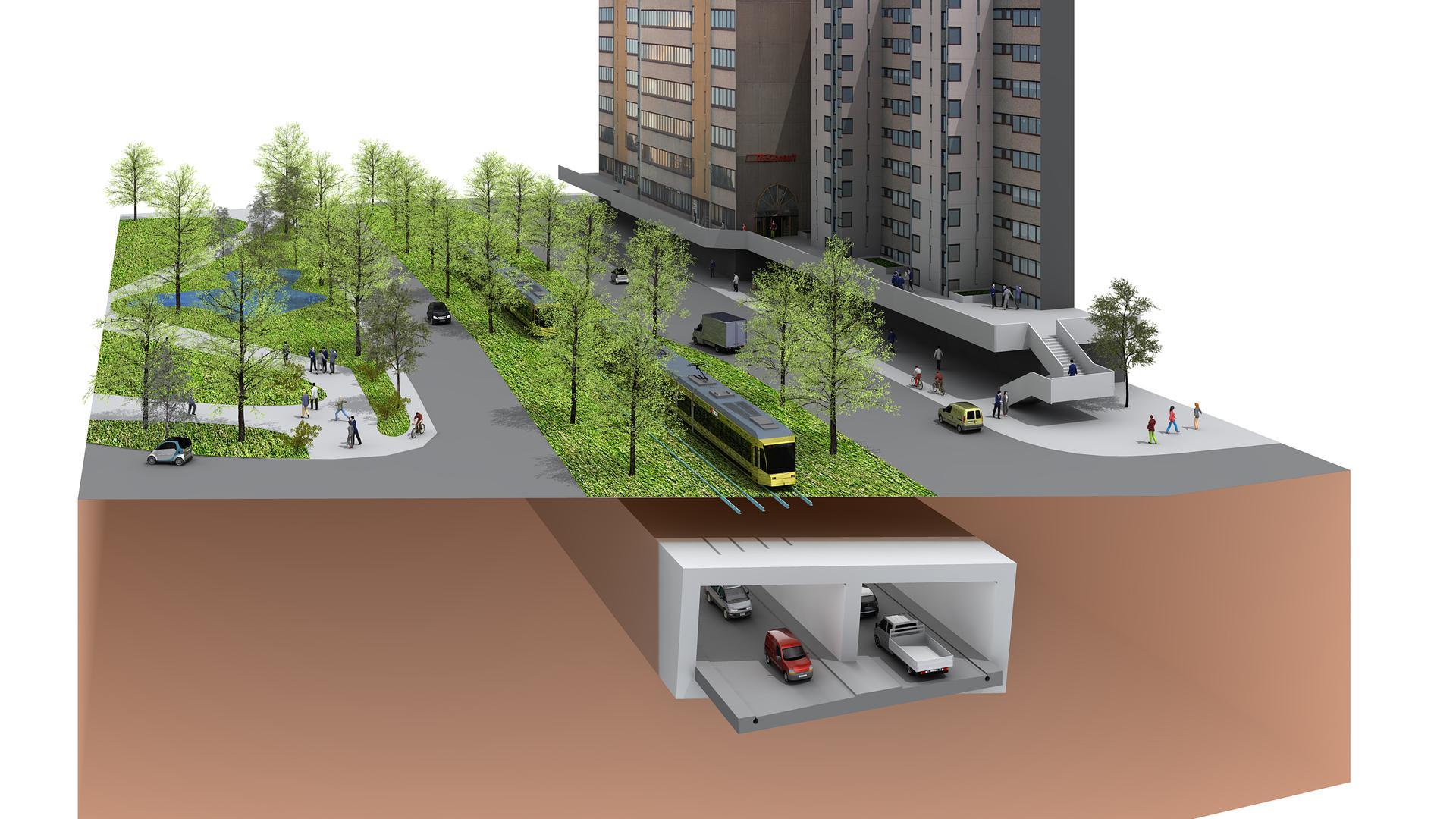 Illustration des neuen Autotunnels im Rahmen der Kombilösung unter der Karlsruher Kriegsstraße.