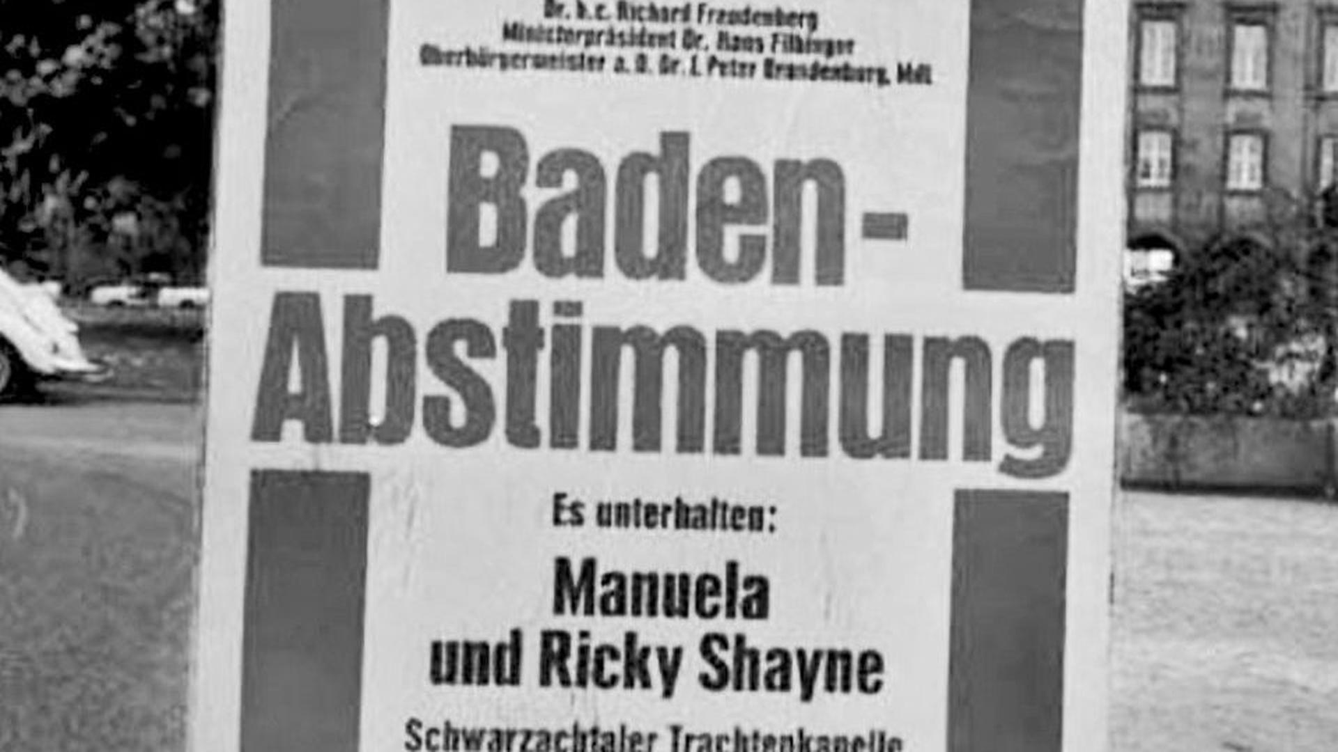 Plakat zur badischen Volksabstimmung 1970