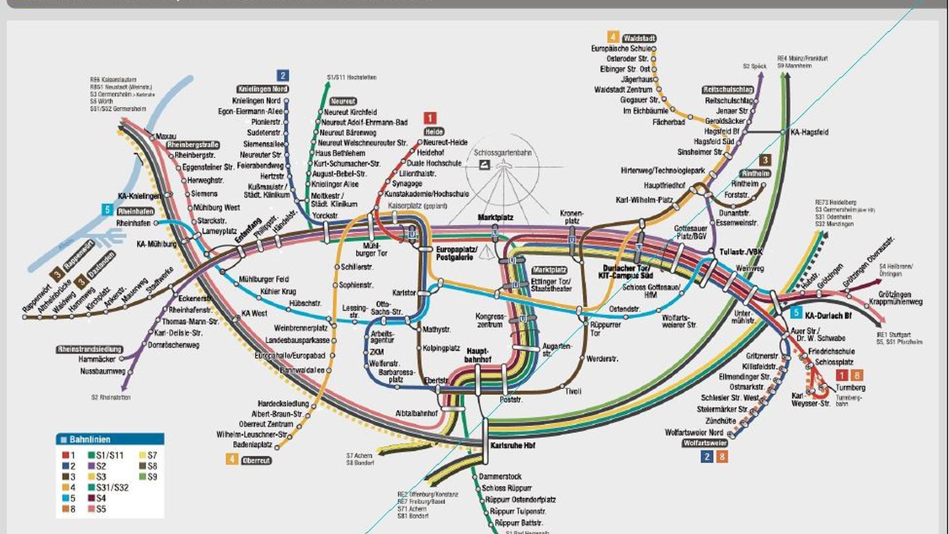 Straßenbahnnetz Karlsruhe