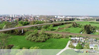 Eine Brücke über die Bahngleise ist eine der denkbaren Varianten für die Umfahrung in Karlsruhe-Hagsfeld.