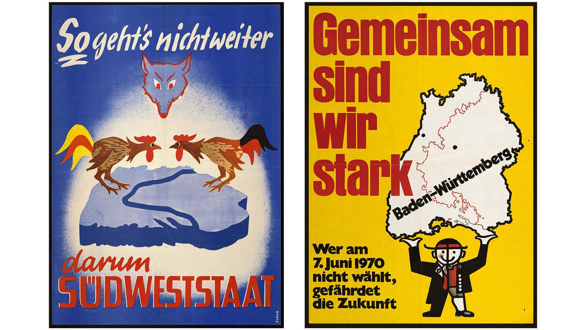 Plakat-Kampagnen: Vor der zweiten Abstimmung 1970 punktete das junge Bundesland Baden-Württemberg mit seiner Wirtschaftskraft. Nur noch rund 18 Prozent der Badener wollten zurück zur Selbstständigkeit. Vor der Abstimmung 1951 warb man für eine friedliche Fusion der badischen und württembergischen Streithähne.