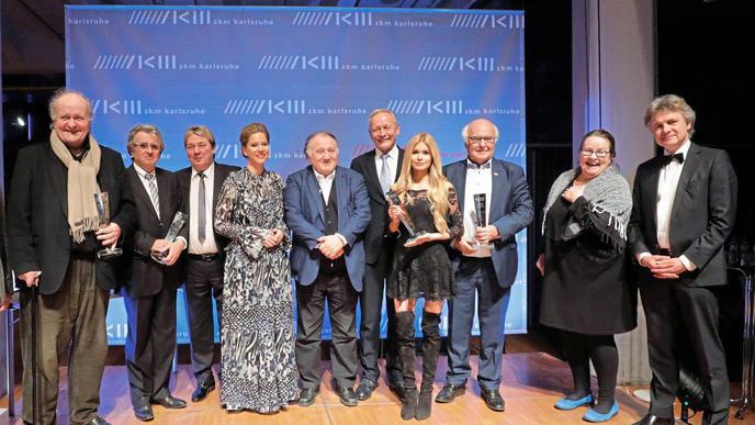 Made in Baden Awards im ZKM; Foto: v.l.n.r.: Wolfgang Rihm, Werner Kimmig, Dieter Kersten, Daniela Bechtold-Schwabe, Peter Weibel, Wolfgang Grenke, Pamela Reif, Martin Herrenknecht, Eleonore Büning, OB Mentrup.