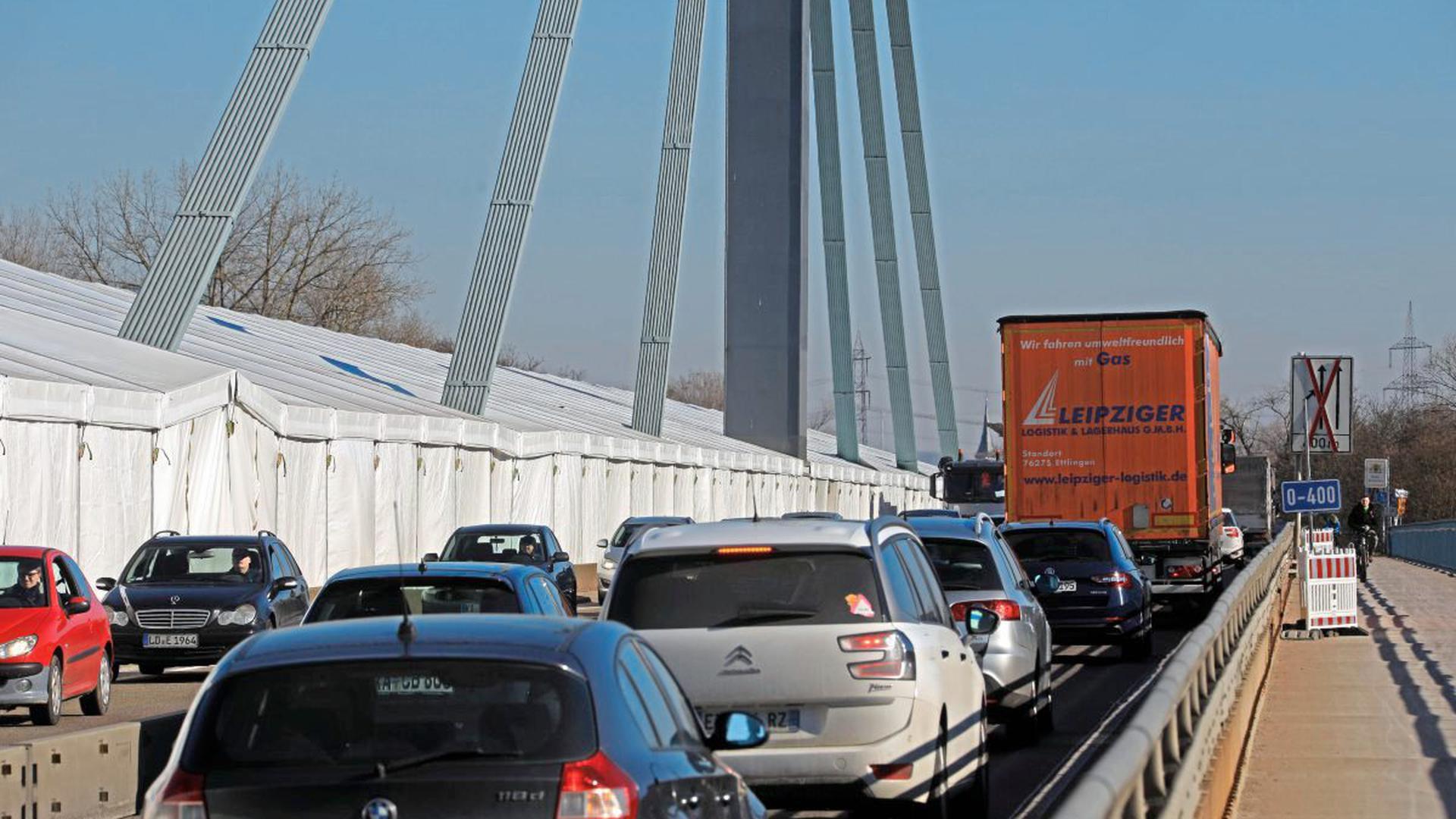 Baustelle Rheinbrücke Karlsruhe 2021