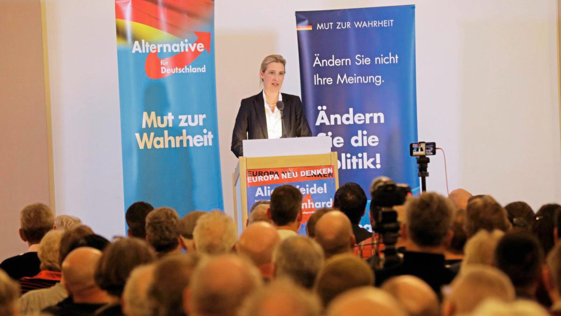 Während Fraktionschefin Alice Weidel zu den etwa 250 Besuchern sprach, demonstrierten draußen etwa 500 Menschen.
