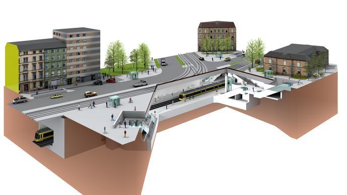 Illustration der unterirdischen Straßenbahn-Haltestelle Durlacher Tor