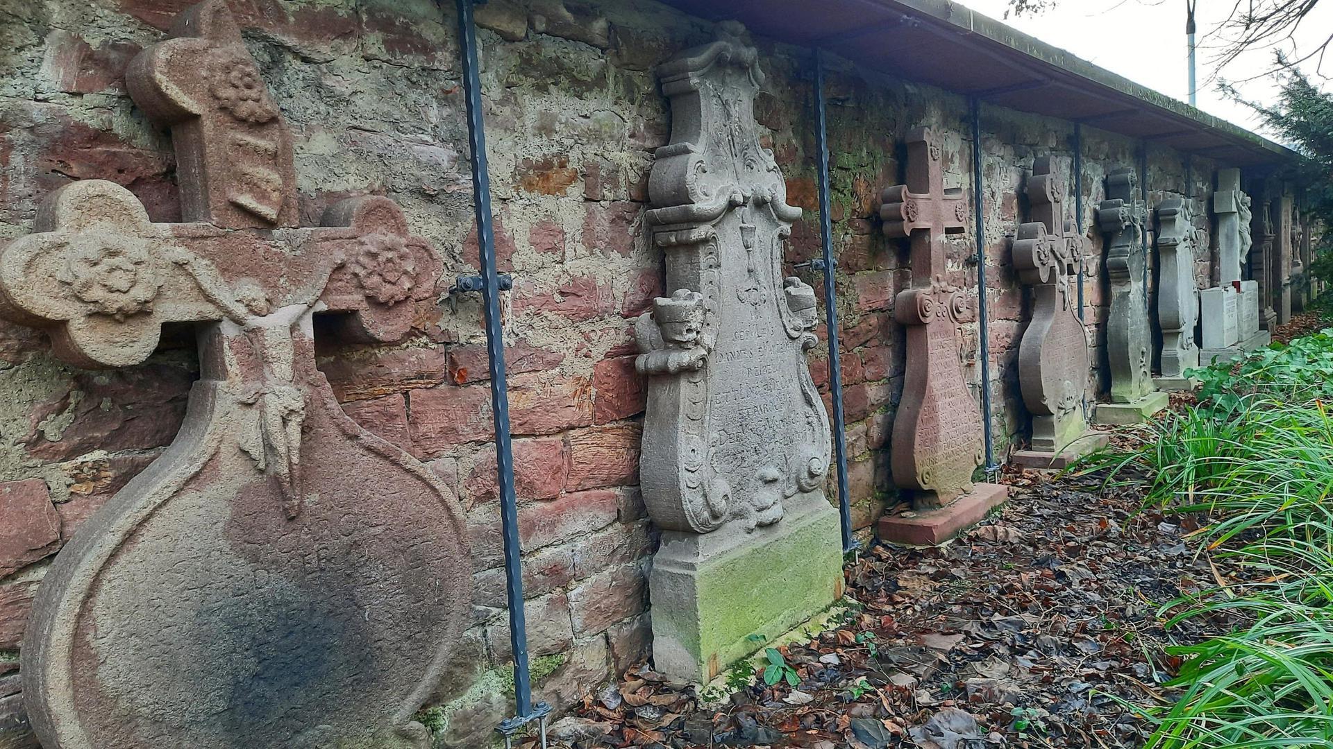 Alte Grabsteine auf Wiesengrundstück