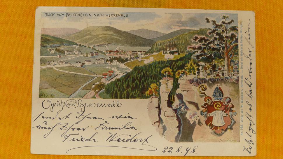 Postkarte, Menschen schauen auf Herrenalb