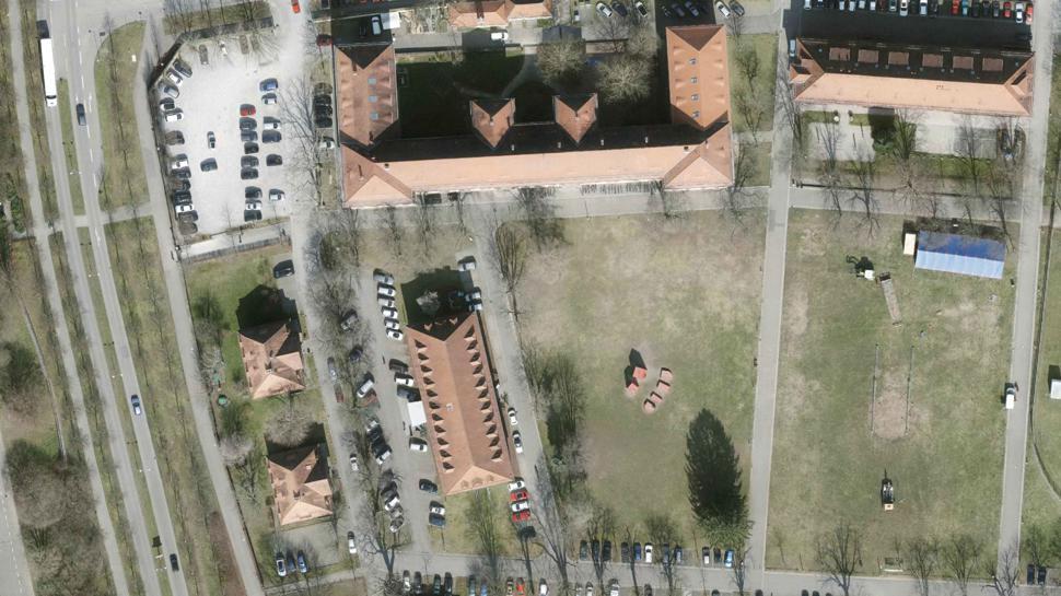 Luftbild mit Gebäuden