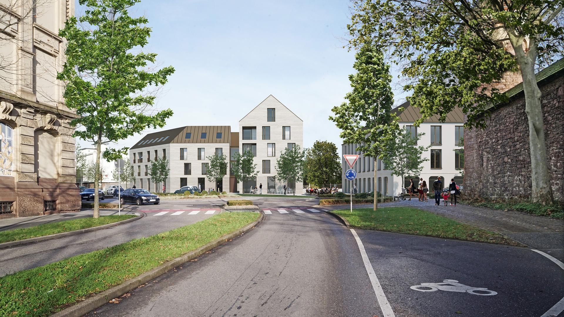 Straße und Häuser an Kreisel