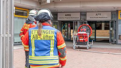 Feuerwehreinsatz am Albertus-Magnus-Gymnasium in Ettlingen.