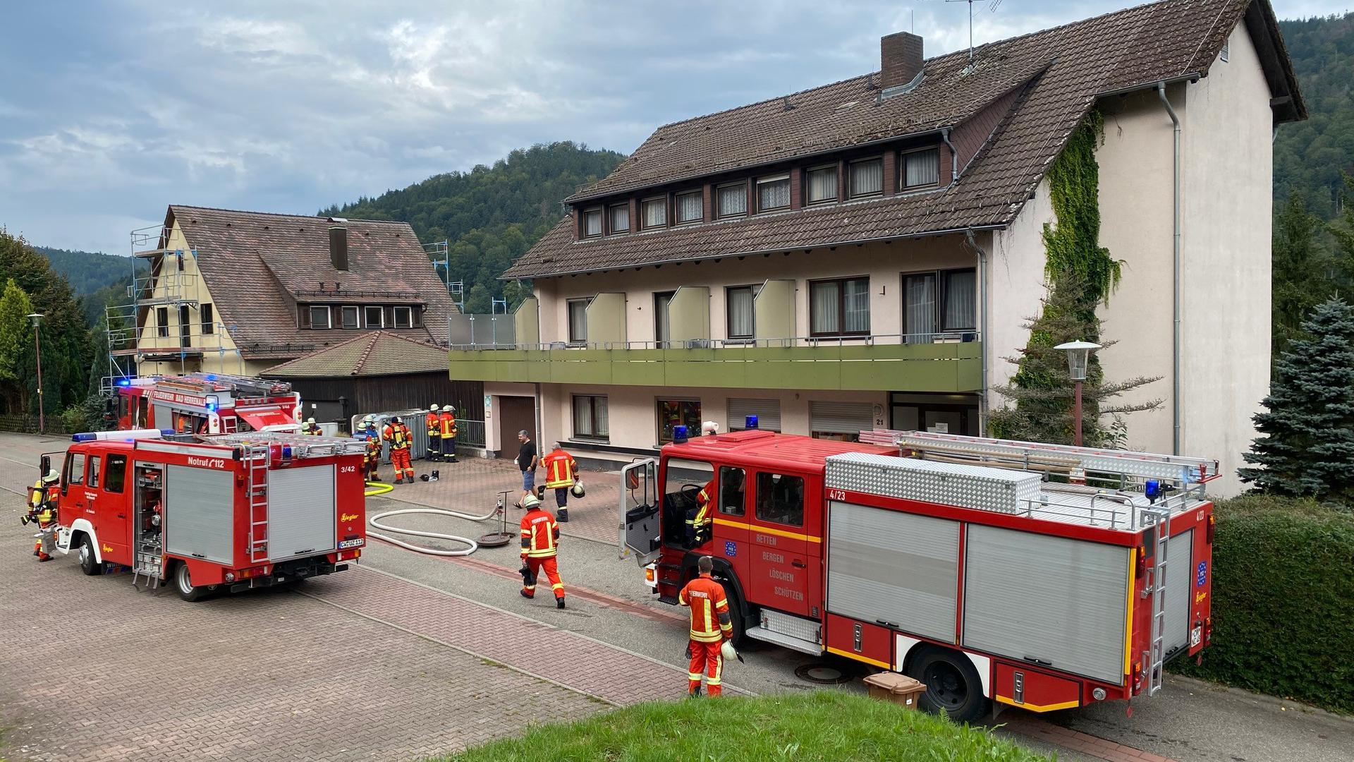 Mit drei Fahrzeugen war die Freiwillige Feuerwehr vor Ort, um die brennende Tanne zu löschen.