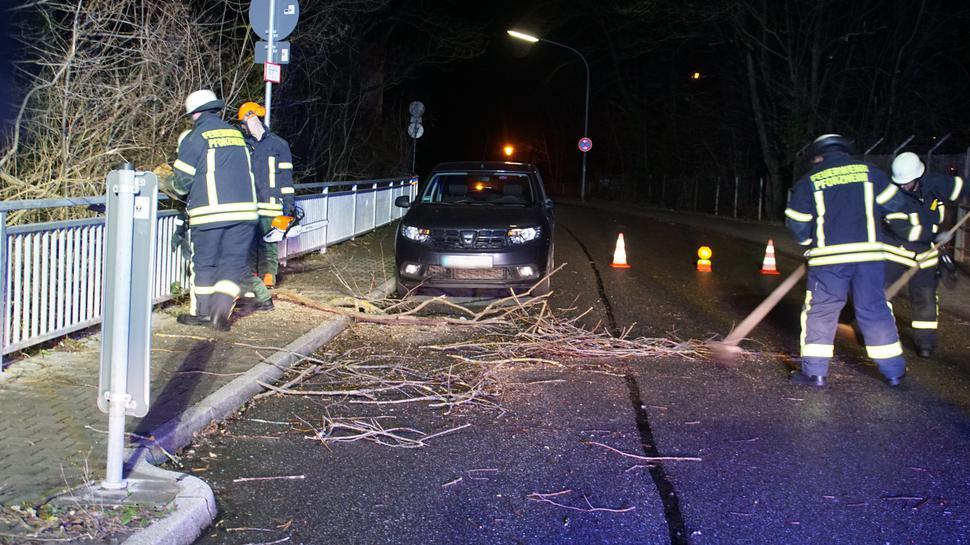 """Auch in Pforzheim musste die Polizei wegen des Sturmtiefs """"Sabine"""" zu mehreren Einsätzen ausrücken. Personen kamen bislang nicht zu Schaden."""