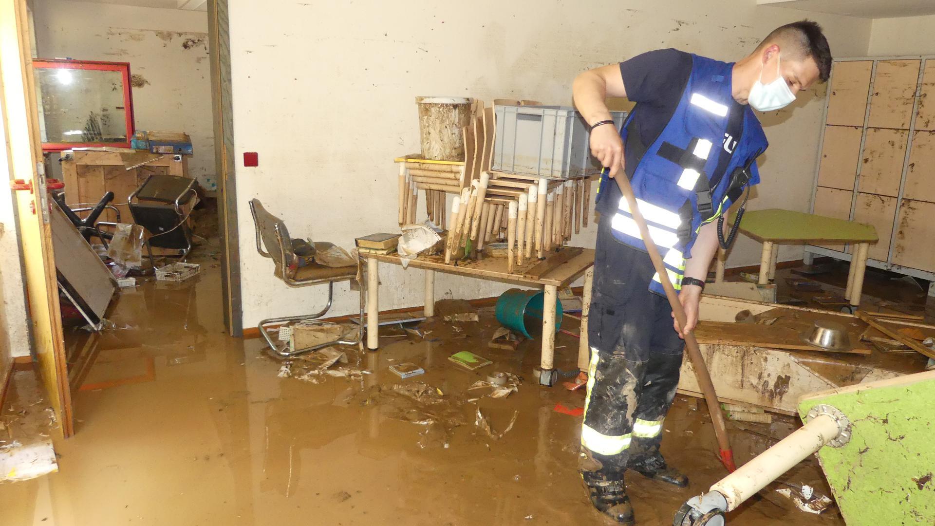 Hochwasser im Keller der Kita St. Franziskus in der Tulpenstraße.