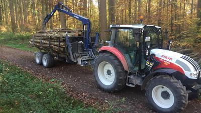 Die Mutschelbacher Holzhändler Reinisch und Ziegler sind mit schwerem Gerät im Wald bei Karlsbad unterwegs.