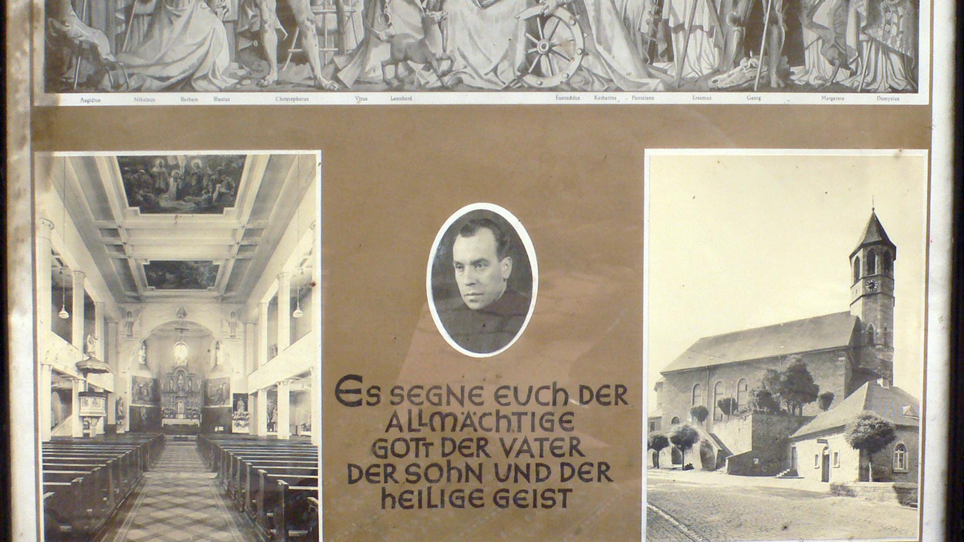 Gedenkbild Innenraum Cyriakkirche Malsch Außenansicht Pfarrer Anton Böhe