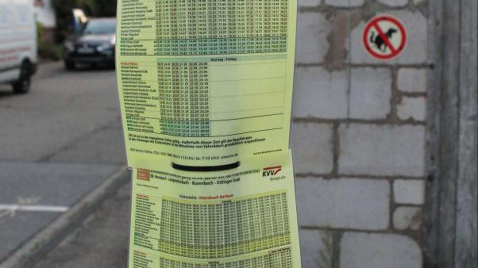 """Ein bisschen """"improvisiert"""" hängen die Fahrpläne für den Schienenersatzverkehr an Haltestellen herum, wie hier in Ittersbach."""