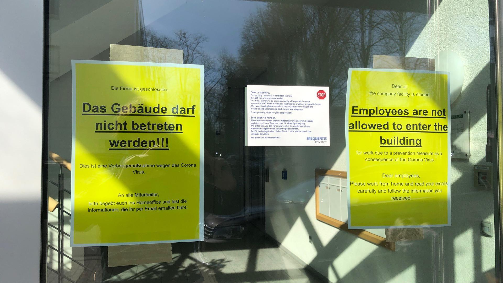 Vollständig geschlossen ist das Firmengebäude des Unternehmens Frequentes im Durlacher Killisfeld. Alle Beschäftigten arbeiten von zuhause aus.