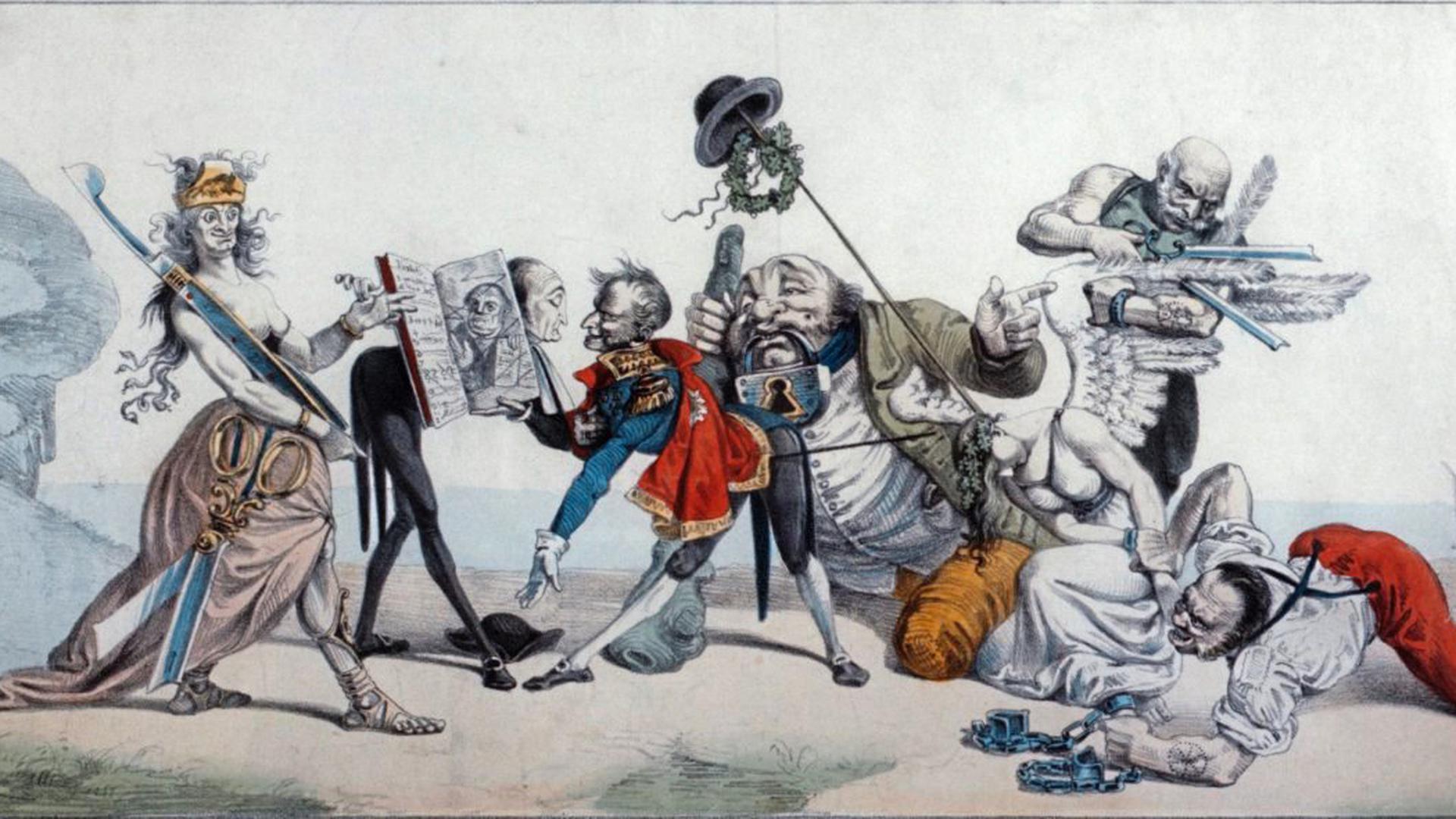In dieser Karikatur von 1842 über die Karlsbader Beschlüsse wird Metternich ein zensiertes Exemplar der Schriften Luthers überreicht. Die Zensur ist die Muse des Bundestags. Der deutsche Michel trägt ein Maulschloss. Germania werden Ketten angelegt.