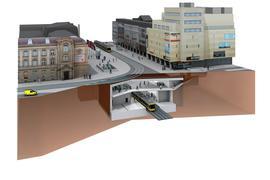 Illustration der unterirdischen Haltestelle Europaplatz im Rahmen der Kombilösung Karlsruhe.
