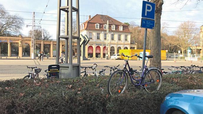 Sogar auf einer Hecke hat ein Fahrradfahrer in Karlsruhe sein Rad am Hauptbahnhof abgestellt.