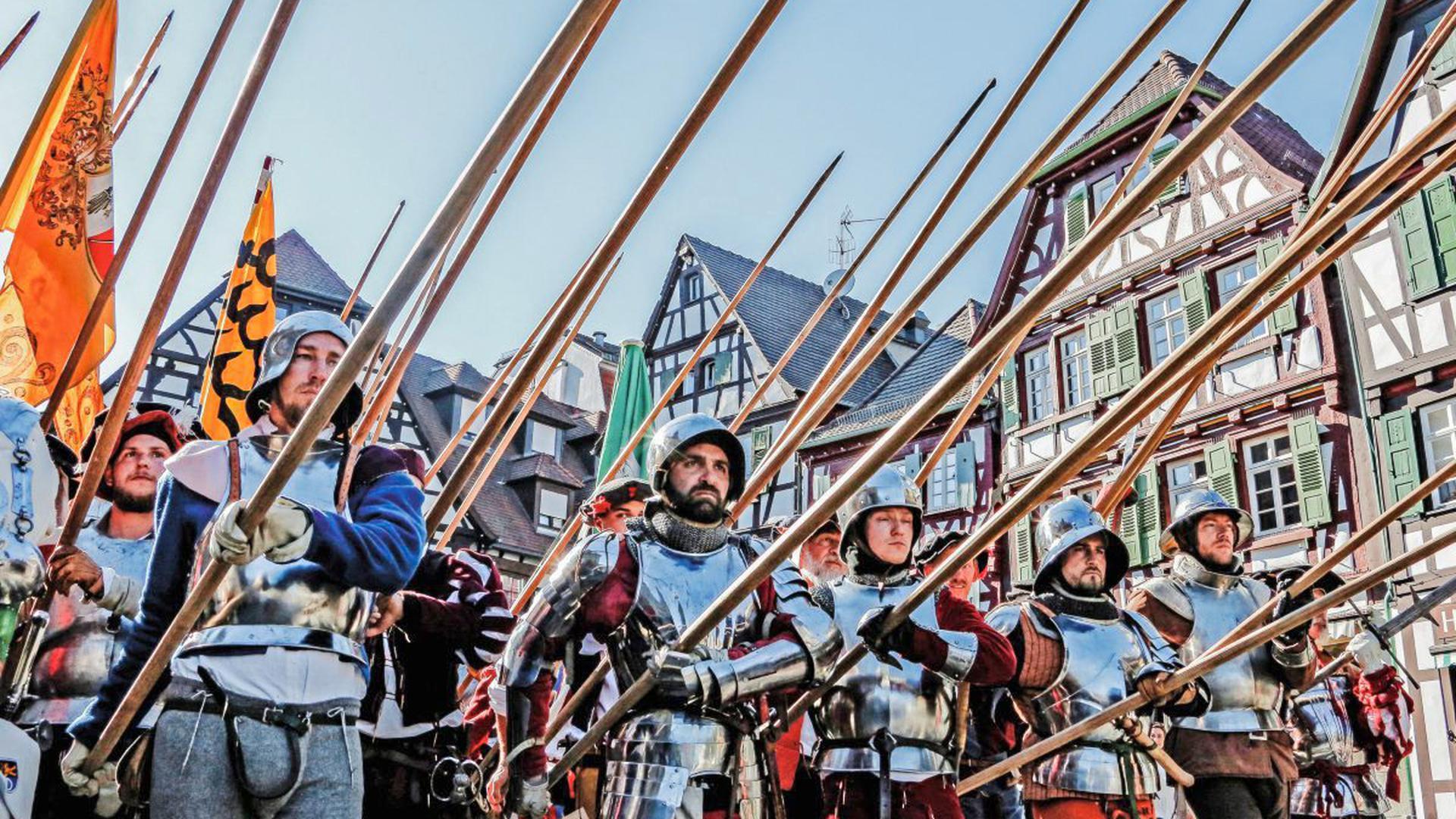 Der Gewalthaufen auf dem Weg zur Schlacht um Brettheim