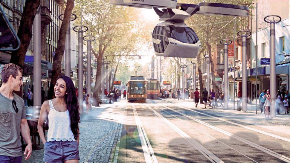 Die Vision einer kühleren Zukunft: Nicht nur Flugtaxis stellen sich die Studenten für Karlsruhes Zukunft vor, sondern auch kühlende Verdungstungsanlagen.