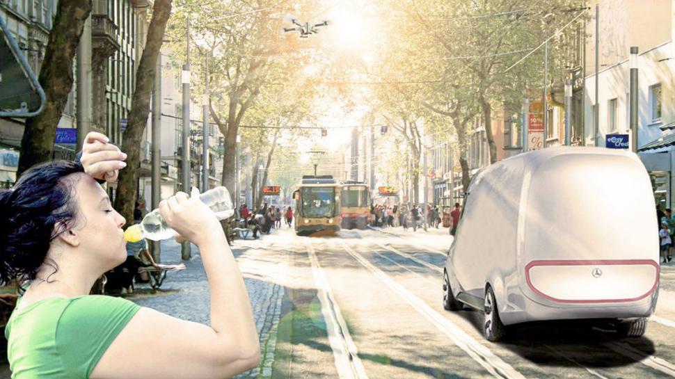Diese Simulation der Hochschuö-Studenten zeigt, wie es Passanten in Karlsruhe in Zukunft ergehen könnte: Schwitzend.