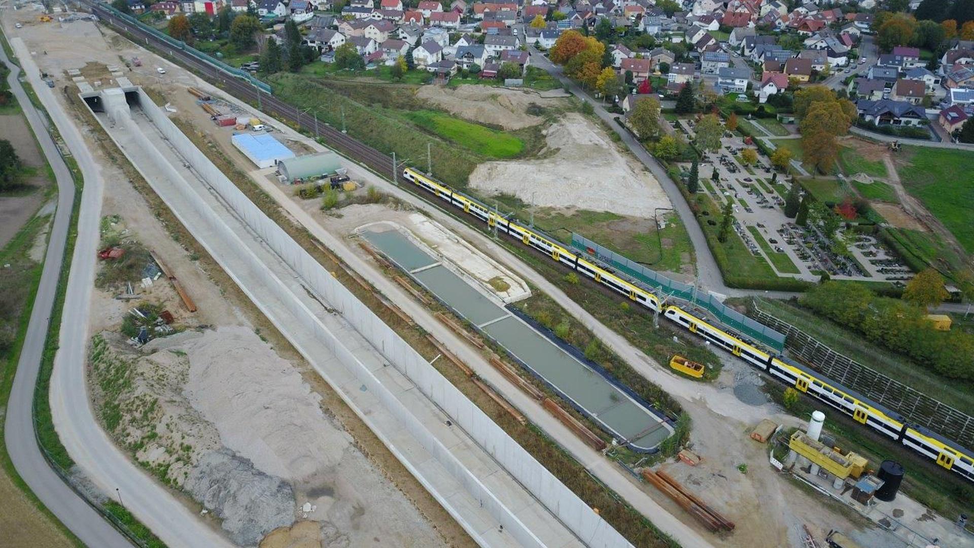 Die Großbaustelle des Rastatter Tunnels.