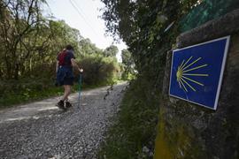 Rafa Ramirez aus Pamplona, geht den Jakobsweg. Aufgrund von Reisebeschränkungen zwischen den Regionen durch die Corona-Pandemie müssen die Bewohner von Navarre, die den Jakobsweg gehen wollen, sich innerhalb ihrer autonomen Gemeinschaft befinden. Darüber hinaus wird die Regierung der spanischen Autonomen Region Galicien als Neuheit eine kostenlose Versicherung einführen, die die Kosten für die Rückführung oder die Verlängerung des Aufenthalts von Pilgern übernimmt. +++ dpa-Bildfunk +++